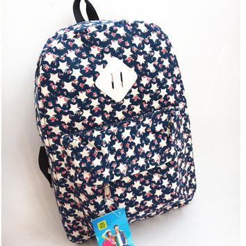 Ms unisex casual canvas backpack backpack bag bag students Stars