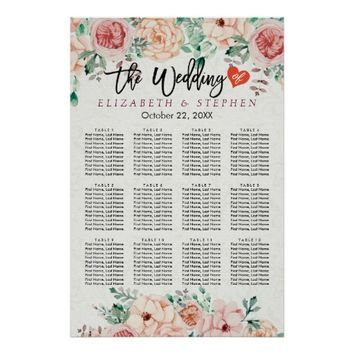 Watercolor Botanical Floral Wedding Seating Chart Poster