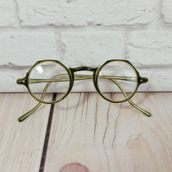 Vintage Black Green Round Art Deco Eye Glasses Frames