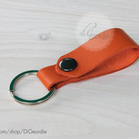 Key chain orange leather key fob leather keychain genuine leather key chain belt strap key fob keychain leather key holder keychain leather