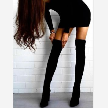 Autumn and winter long-sleeved sexy stovepipe knee boots women boots round gray high-heeled plus velvet boots Black