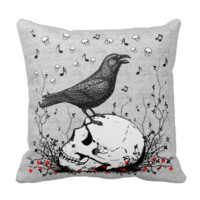 Raven Sings Song of Death on Skull Illustration Throw Pillows