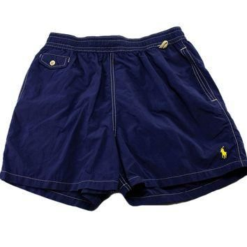 Polo by Ralph Lauren Navy Blue Swim Trunks Mens Size Large