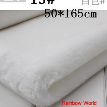 13# white Height  8mm Minky fleece plush PV velvet velboa fabric for DIY sewing Stuff toy pet home sleepcoat pillow(50*165cm)