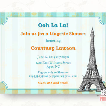 Paris Lingerie Shower Invitation (Printable) Paris Lingerie Party Invitation