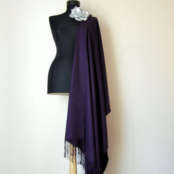 Dark Purple Shawl, Solid Color Purple Pashmina, Cashmere Silk Scarf, Elegant Wrap, Bridesmaid Gift, Wedding Shawl, Removable Flower Brooch