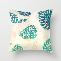 CALI TROPICAL LEAVES Throw Pillow by Nika