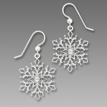 Sienna Sky Earrings - Filigree Snowflake with Glass Pearl Cabochon