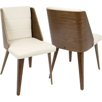 Galanti Mid-Century Modern Dining Chairs, Walnut Wood & Cream PU (Set of 2)