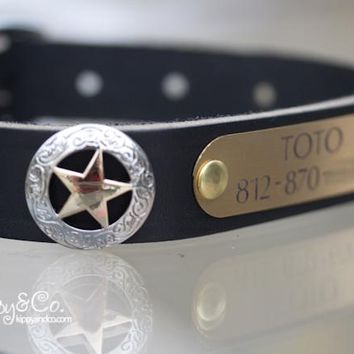 Texas Star Leather Dog Collar