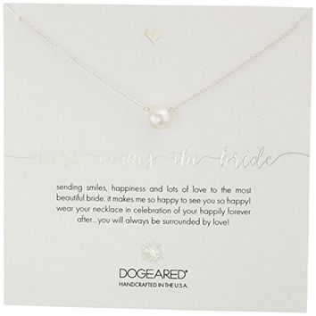 """Dogeared Here Comes The Bride, Large White Pearl Silver Necklace, 18"""""""