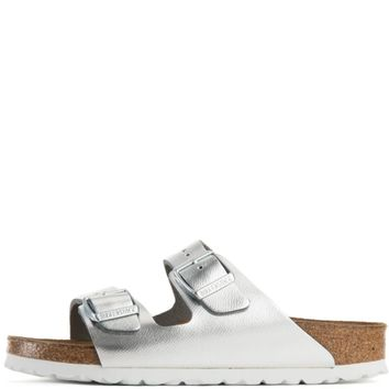Birkenstock For Women: Arizona Liquid Silver Leather Soft Footbed Narrow Sandal - Beau