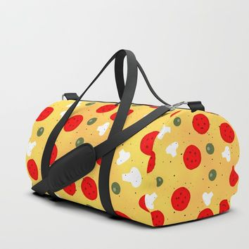 Cool fun pizza pepperoni mushroom Duffle Bag by pldesign
