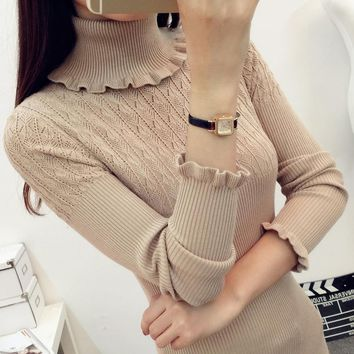 Sweater, Pullover Turtleneck Sweater, Slim Fitting with Long Ruffled Sleeves.