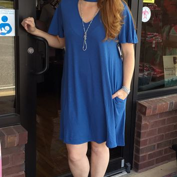 Blue Choker Tie dress