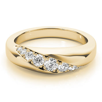 Wedding Band - Diagonal Pave Diamond Wedding Band in Yellow Gold