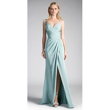 Seafoam-Blue Pleated Long Formal Dress Spaghetti Strap with Slit
