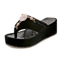 Rhinestone Flip Flops Platform Sandals Sizes 4.5-10.5
