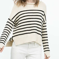 Beige Stripe Knitted Sweater With Slit