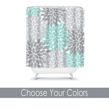 Shower Curtain CUSTOM You Choose Colors Aqua Gray Flower Burst Dahlia Pattern Bathroom Bath Polyester Made in the USA