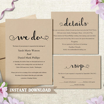 We Do Wedding Invitation Template, Printable Wedding Invitation Set Burlap Rustic Script Invitation Heart Cards DIY Editable Invite Download