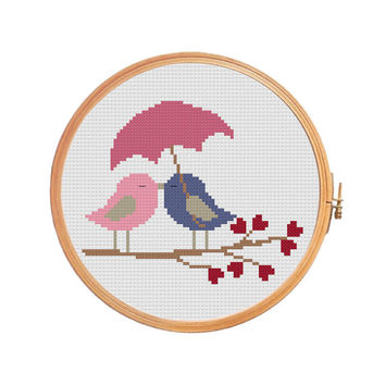 BIRDS UNDER UMBRELLA - Cross Stitch Pattern - Valentine's Day, Love birds