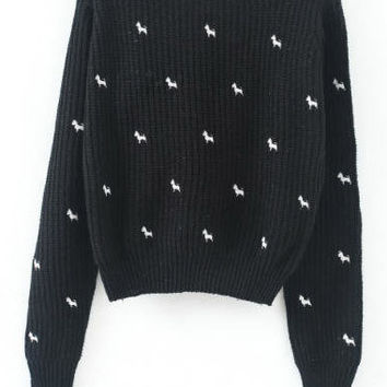 Black Hooded Dog Embroidered Cropped Sweater
