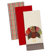 "Set of 3 Turkey 100% Cotton Kitchen Towels- 18 x 28"". Thanksgiving Winner!"