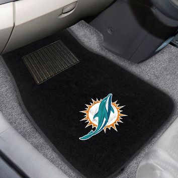 FANMATS NFL 2-pc Embroidered Miami Dolphins Car Mat Set