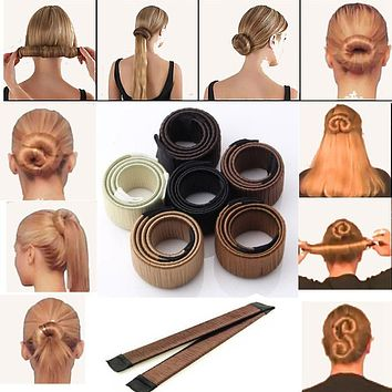 New 1pc Magic Hair Styling Multi Function Hair Donut Girls Hair Accessories French Twist Magic DIY Tool Bun Hair Maker F6534a