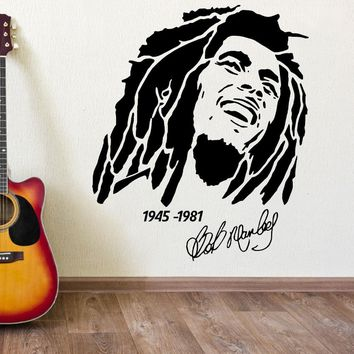 Hot BOB MARLEY 1945 -1981 vinyl wall art sticker decal Removable Home Decor Bedroom Wall Paper A-7