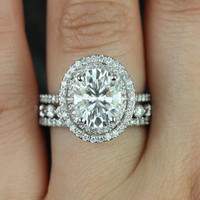 Cara 10x8mm & Medio B.B. 14kt White Gold Oval FB Moissanite and Diamonds Halo TRIO Wedding Set (Other metals and stone options available)