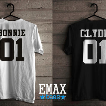 Bonnie Clyde T Shirts, Couples Tshirts Bonnie and Clyde, Unisex Soft 100% Cotton Tees