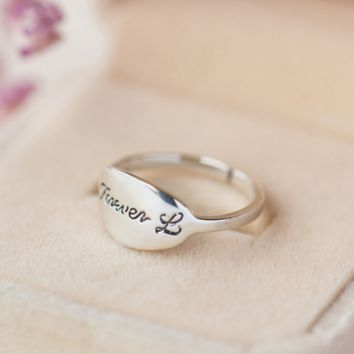 925 sterling silver Personality Thai silver letter Forever opening ring, a perfect gift !