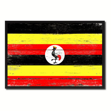 Uganda Country National Flag Vintage Canvas Print with Picture Frame Home Decor Wall Art Collection Gift Ideas