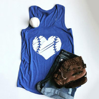 Women's Blue Sleeveless Heart Baseball Printed T-Shirt Tank Top