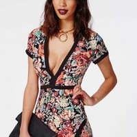 Missguided - Charlott Crepe Deep V Floral Bodycon Dress