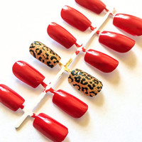 Neon fake nails animal print false nails glitter acrylic nails cheetah print artificial nails