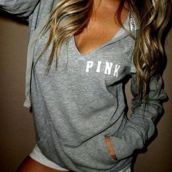 victoria s secret pink women s fashion letter print hooded long sleeves pullover tops sweater-10