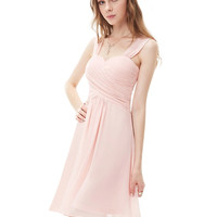 Simple Pink Braces Chiffon Sleeveless Zipper Dress