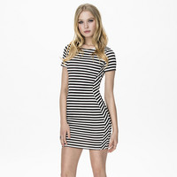 Black and White Striped Bodycon Short Sleeve Mini Dress