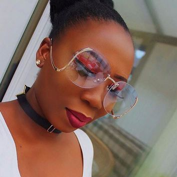 Round Rimlessn Fashion Optics Big Metal Frame Sunglasses