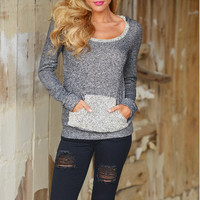 Casual Gray Pocket Patchwork Sweater