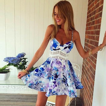 2017 Summer Dress Women Robe Sexy Beach Print Dress Off Shoulder Sleeveless Women Dress Robe Femme Vestido De Festa