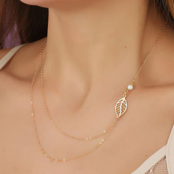 Gift New Arrival Jewelry Stylish Shiny Simple Pearls Metal Leaf Double-layered Chain Necklace [7298070919]