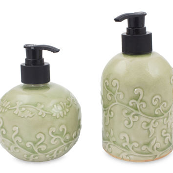 Celadon ceramic soap dispensers, 'Jade Floral' (pair)