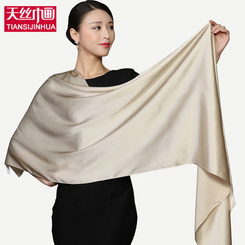 2018 100% Silk Rectangle Scarves Women Silk Scarf Luxury Brand Scarf Shawl Satin Scarves Long Muslim Hijab Shawls
