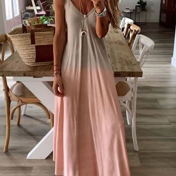 2019 Summer Women Colorful Gradient Spaghetti Strap Party Dress Boho V neck Beach Long Maxi Dresses Plus Size 3XL