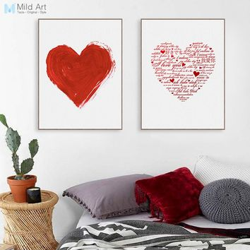 Abstract Red Heart Love Quete Typography Poster Girl Room Wall Art Print Picture Romantic Wedding Decor Canvas Painting Custom