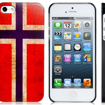 Norway Flag Plastic Case for iPhone 5S/S